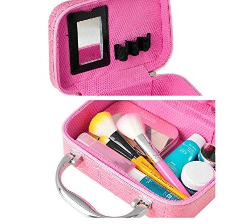 LOVE STUDIO,Cosmetic Case Piedra Patrón Bolsa de Maquillaje a Mano Bolsa de Almacenamiento Cuadrada con Caja de Bolsillo y Espejo C