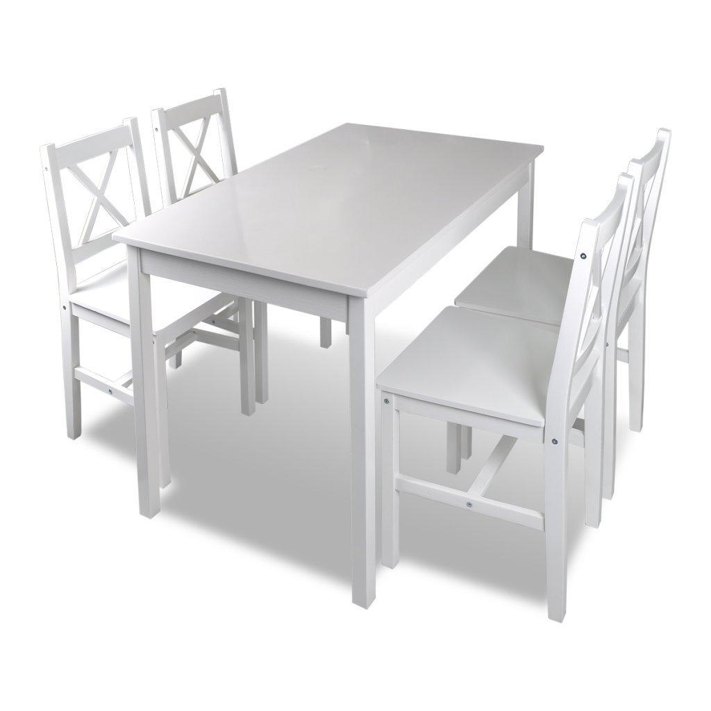 Anself Set de Table à Manger en Bois+ 4 Chaises de Haute Qualité