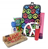 Bundle-Retro Ladies Smoking Case with Raw Natural 1 1/4 Rolling Papers, Rolling Paper Tin, Clipper Lighter, Mini Visine Eye Drops, Tic-Tac Breath Mints, and a Doob Tube Brand Storage Tube