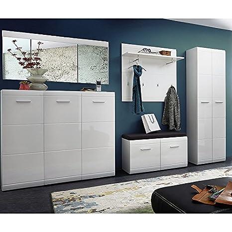 Garderobe 5 Teilig Hochglanz Weiß Garderobenset