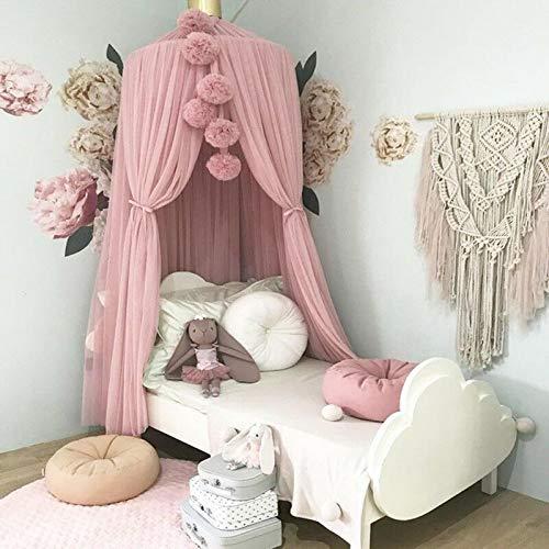 SRETAN Baby Kids Bed Canopy Mosquito Net White Pink Gray Curtain Bedding Crib Nursery Room Balls Chiffon Decor Bedroom Home Store Size 23.62 inch (Pink)