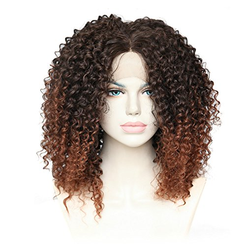 - Cbwigs Afro Kinky Curly Wigs Heat Resistant 100% Fiber Ombre Brown Synthetic Lace Front Fluffy Wigs for African American Women 16 inch #2/30