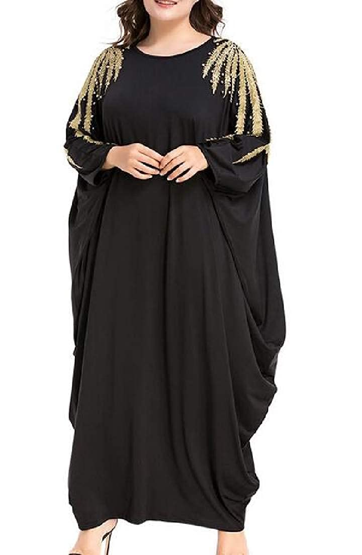 Black Nanquan Women Kaftan Ramadan Islamic Batwing Sleeve Muslim Loose Maxi Dress