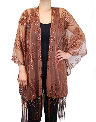 Love My Seamless Mother of The Bride Beaded Evening Fashion Shawl Top Jacket Poncho Cover (Brown)