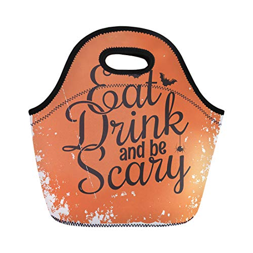 (Semtomn Lunch Tote Bag Orange Halloween Party Vintage Lettering Eat Drink and Be Reusable Neoprene Insulated Thermal Outdoor Picnic Lunchbox for Men)