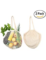 2Pcs Reusable Grocery Bags - HoRiMe Reusable Shopping Bags Organic Cotton String Mesh Grocery Shopping Produce Net Bag Organizer with Long Handles for Fruit Vegetable Storage Beach Eco Friendly