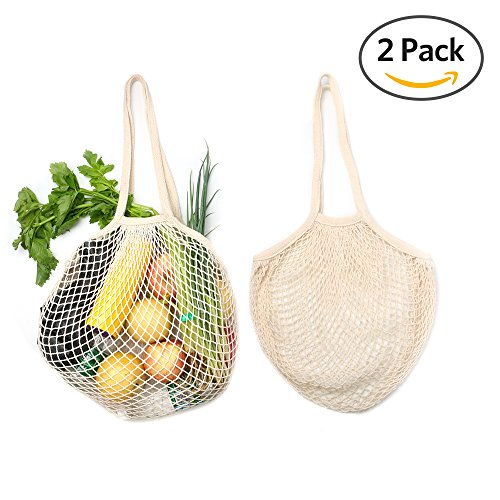 2Pcs Reusable Grocery Bags - HoRiMe Reusable Shopping Bags Organic Cotton String Mesh Grocery Shopping Produce Net Bag Organizer with Long Handles for Fruit Vegetable Storage Beach Eco (Cotton Woven Bag)