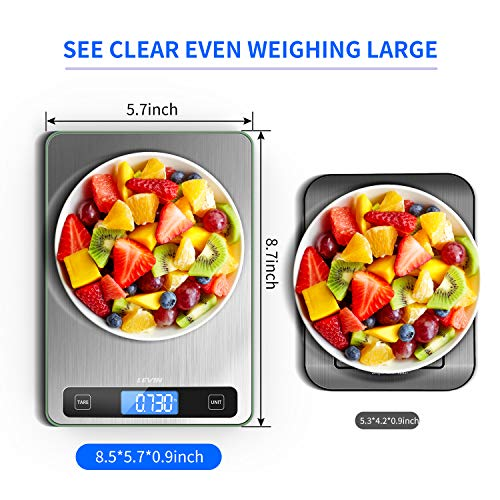 LEVIN Food Scale, 33lb Digital Kitchen Scale with 1g/0.05oz Precise Graduation, 5 Units LCD Display Scale for Cooking/Baking in KG, G, oz, ml, and lb, Easy Clean Stainless Steel and Tempered Glass