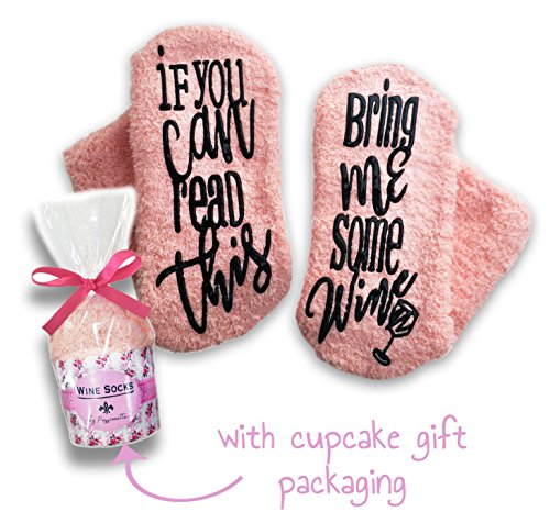 Passionette Fuzzy Wine Socks: If You Can Read This Bring Me Some Wine Novelty Socks  Gift Idea for Her  Valentine#039s Day 21st Birthday Anniversary with Cupcake Gift Packaging Coral Candy