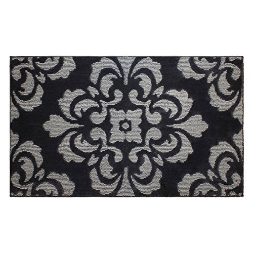 Portico Bath (Jean Pierre Cut and Loop Portico 28 x 48 in. Textured Decorative Accent Rug, Flat Gray/Grey)