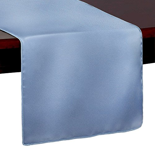 - Ultimate Textile -10 Pack- Bridal Satin 14 x 72-Inch Table Runner, Periwinkle Blue