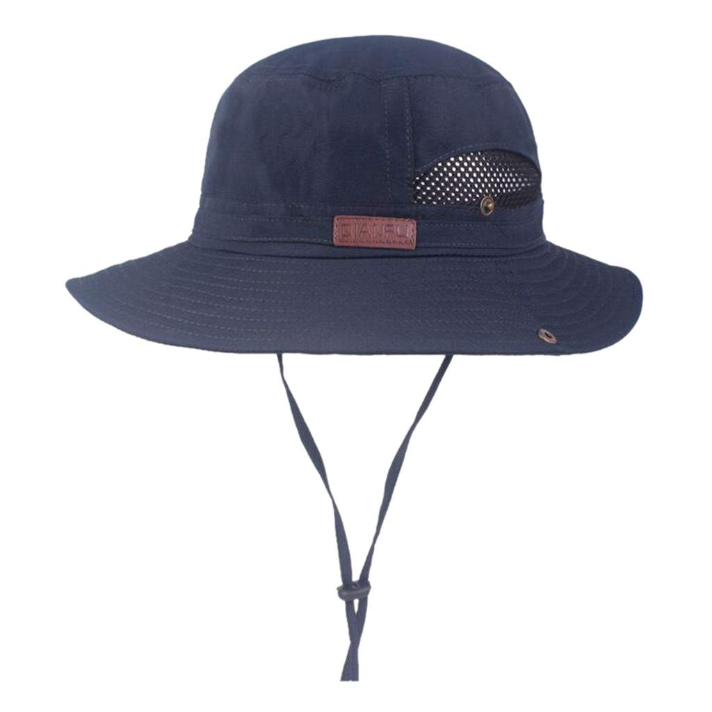 FEDULK Windproof Fishing Hats Big Wide Brim Sun Protection Soft Foldable Camping Hiking Outdoor Mesh Cap(Navy)