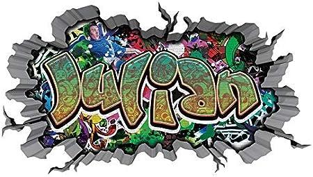 3d Wandtattoo Graffiti Wand Aufkleber Name Julian Wanddurchbruch Sticker Selbstklebend Wandbild Wandsticker Jungenddeko Kinderzimmer 11u026 Wandbild Grosse F Ca 97cmx57cm Amazon De Kuche Haushalt