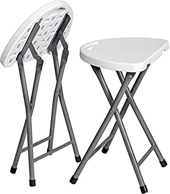 Excellent Zimmer Folding Stool Set Of 2 Portable Plastic Chair With Durable Steel Frame Legs For 220 Pound Capacity Easy Carry Handle Weather And Impact Ibusinesslaw Wood Chair Design Ideas Ibusinesslaworg