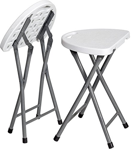 Zimmer Folding Stool (Set of 2) Portable Plastic Chair with Durable Steel Frame Legs for 220 Pound Capacity, Easy Carry Handle, Weather and Impact Resistant for Indoor/Outdoor Use, 18-Inch, White ()
