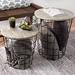Lavish Home Nesting End Tables with Stor...