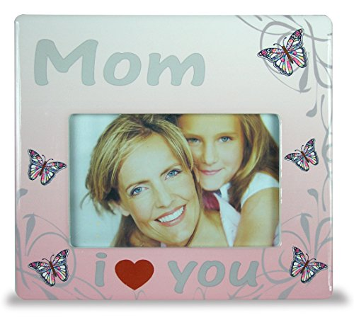 BANBERRY DESIGNS Mom Frame - I Love You Mom Butterfly Themed Frame - Mother Daughter Picture Frame - New Mom Frame