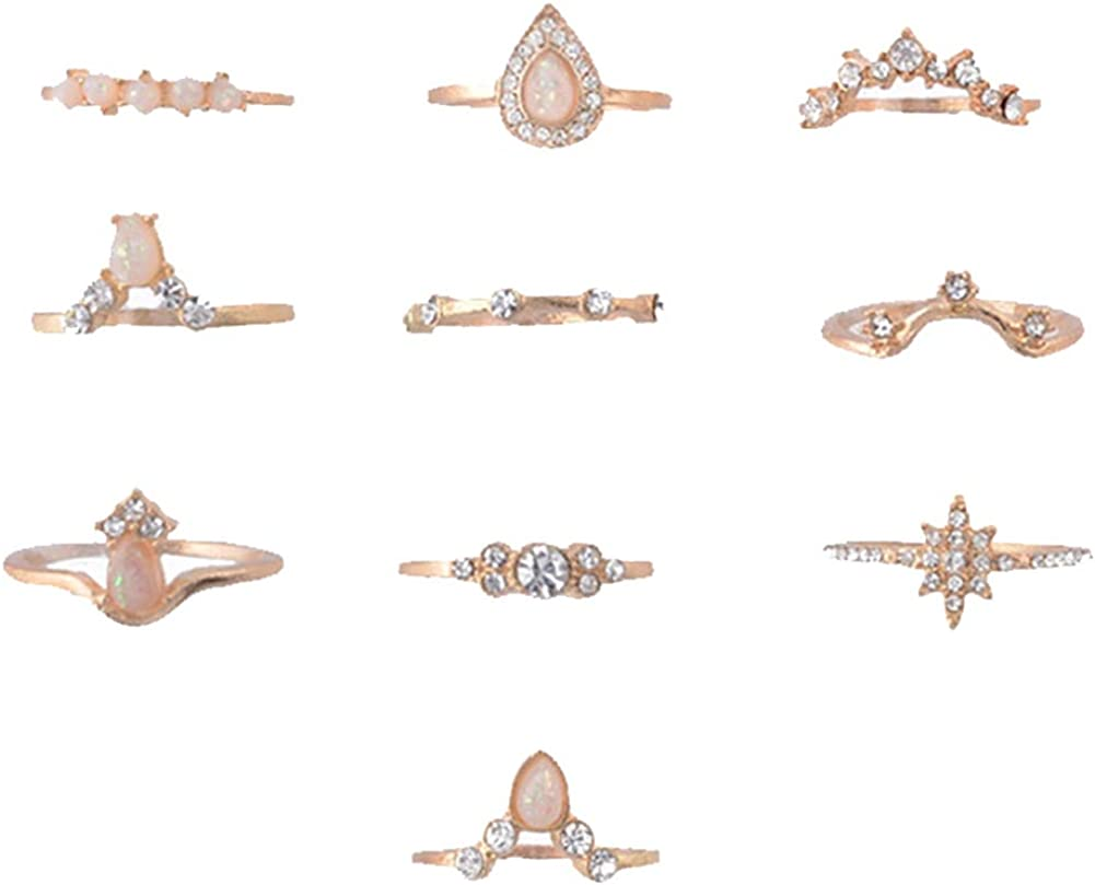 shiYsRL Exquisite Jewelry Ring Love Rings 16Pcs//Set Retro Boho Hamsa Hand Crown Finger Midi Knuckle Stacking Rings Jewelry Wedding Band Best Gifts for Love with Valentines Day