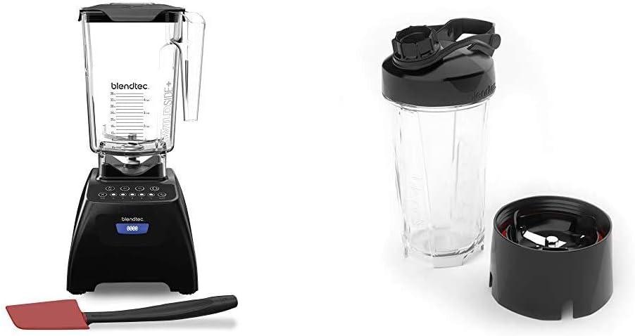Blendtec Classic 575 Blender - WildSide+ Jar (90 oz) and Spoonula Spatula BUNDLE - 5-Speeds - Black & GO Cup (34 oz), Travel Bottle, Reusable Single Serve Blender Cup, Travel Lid, BPA-free Jar, Clear (Renewed)