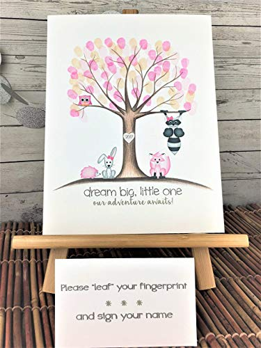 Customizable woodland animal fingerprint tree for a girl's woodland animal themed baby shower, featuring a pink owl, fox, and hedgehog, and a raccoon and bunny with pink -