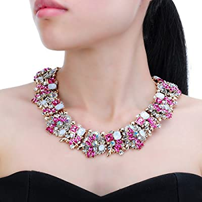 Crystal Statement Necklace (Earrings Set), Vintage Chunky Chain Choker Bib Statement Necklace Fashion Costume Jewelry Necklaces (Set) for Women