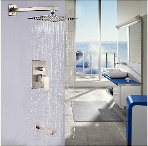 Gowe? Wall Mount Brushed Nickel Bathroom Rain Shower Faucet Set Tub Mixer Tap