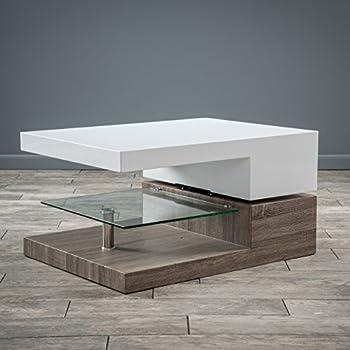 Emerson Rectangular Mod Swivel Coffee Table W Glass