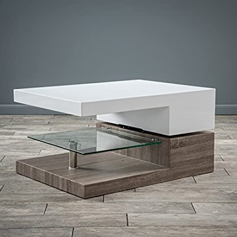 Amazon Com Emerson Rectangular Mod Swivel Coffee Table W Glass