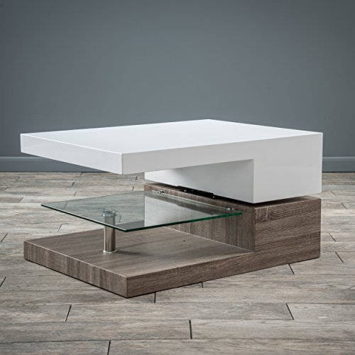 Emerson Rectangular Mod Swivel Coffee Table W/ Glass Basic Info