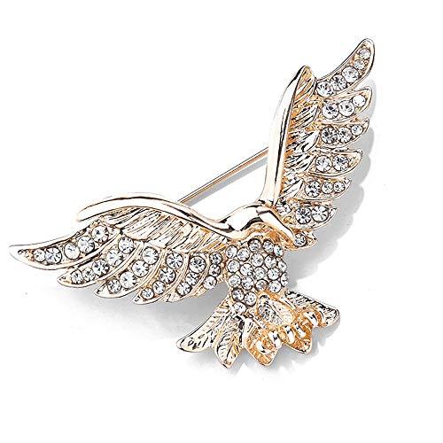 MIXIA Eagle Bird Brooches Pin for Women/Men Fashion Full Rhinestone Animal Brooch Jewelry (Gold)