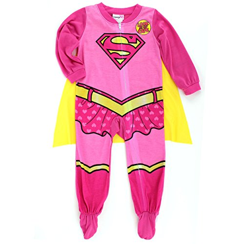 [Supergirl Baby Toddler Poly Sleeper Pajamas with Cape (2T, Pink Supergirl Costume)] (Supergirl Costumes Pink)