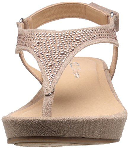 Cl Av Chinese Laundry Womens Fin Dag Micro Suede Wedge Sandal Taupe