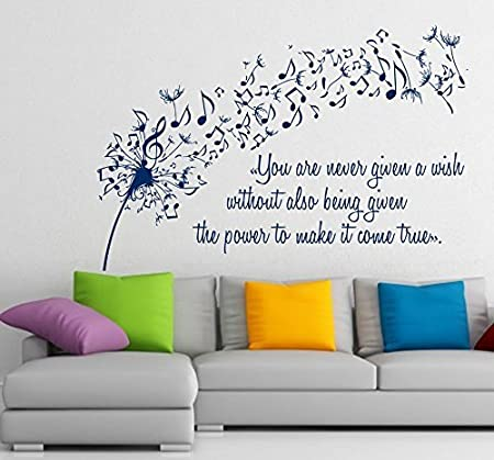 Floral Wall Decals Vinyl Decal Dandelion Sticker Flower Music Quote Musical Notes Home Art Decor Kids Nursery Removable Stylish Sticker Mural Unique Design For Any Room M414 Kitchen Dining