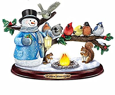 Thomas Kinkade Snowman and Songbird Sculpture Lights Up with Music and Bird Song by The Bradford Exchange