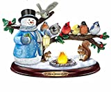The Bradford Exchange Thomas Kinkade Snowman and Songbird Sculpture Lights Up with Music and Bird Song