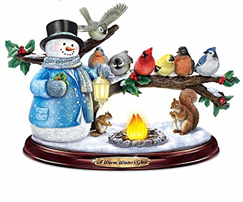 (The Bradford Exchange Thomas Kinkade Snowman and Songbird Sculpture Lights Up with Music and Bird Song)