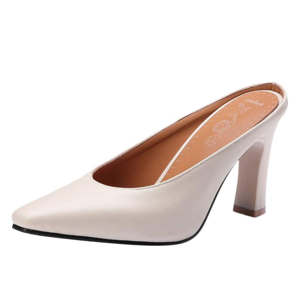 Cenglings Mule Shoes,Women's Casual Pointed Toe High Chunky Heel Sandals Slip On Slippers Vintage Office Work Shoes Beige by Cenglings