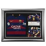 Signed Messi Suarez Neymar 2015-16 Barcelona Framed Shirt - Autographed Soccer Jerseys