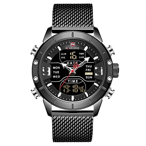 NAVIFORCE Digital Watch Men Waterproof Sports Watches Stainless Steel Military Quartz Clock Wristwatch