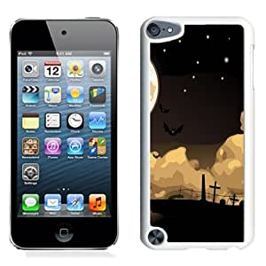 Lovely and Durable Cell Phone Case Design with Halloween Night Cemetery Bats iPod Touch 5 Wallpaper in White