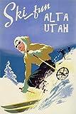 "GIRL SKI DOWNHILL SKIING IN ALTA UTAH AMERICAN USA US WINTER SPORT TRAVEL 12"" X 16"" PAPER VINTAGE POSTER REPRO"