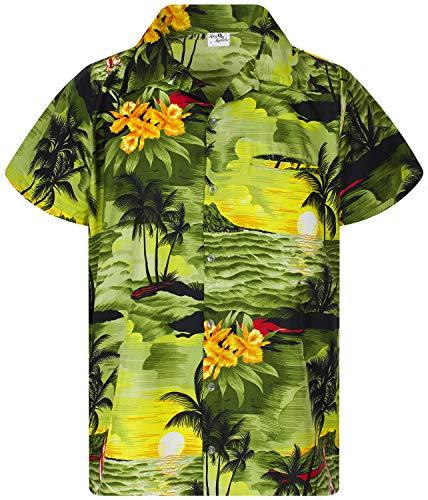 King Kameha Funky Hawaiian Shirt, Shortsleeve, Surf, DarkGreen, XL
