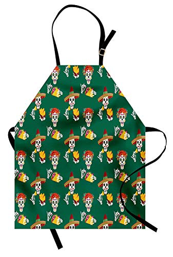 T&H Home Cinco De Mayo Apron, Artistic Smiling Sugar Skulls Eating Nachos and Tacos for Holiday Pattern, Unisex Kitchen Bib Apron Adjustable for Kids Adults Cooking Baking Gardening, Multicolor]()