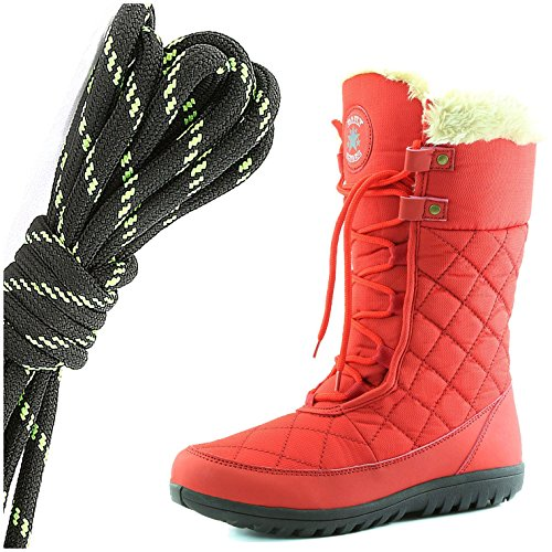 DailyShoes Womens Comfort Round Toe Mid Calf Flat Ankle High Eskimo Winter Fur Snow Boots, Black Lime Red