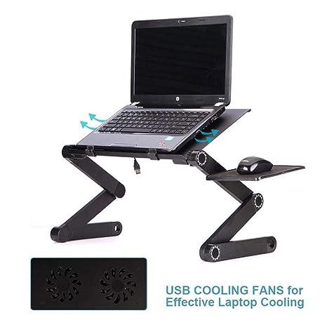 Kobwa - Soporte ajustable para portátil con 2 ventiladores de refrigeración para CPU, mesa para ordenador portátil, ...