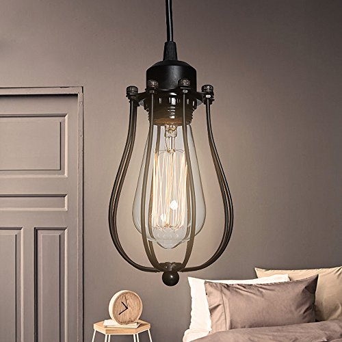 T.Y.S Lighting Vintage Style Industrial Hanging Light Pendant Wire Cage Guard Lantern (Antique) by T.Y.S