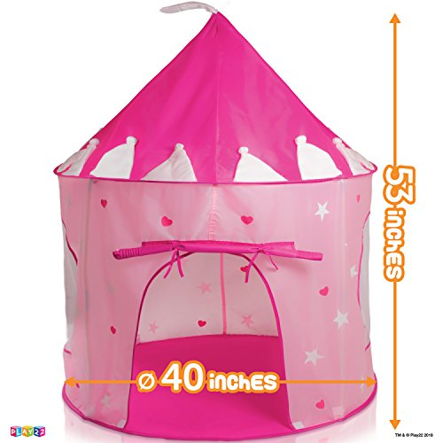 Play22 Play Tent Princess Castle Pink - Kids Tent Features Glow in The Dark Stars - Portable Kids Play Tent - Kids Pop Up Tent Foldable Into A Carrying Bag - Indoor and Outdoor Use - Original by Play22 (Image #3)