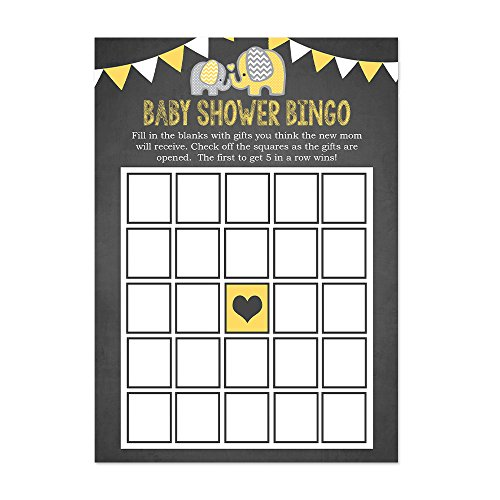 Yellow Elephant Baby Shower Bingo Cards 20 Count