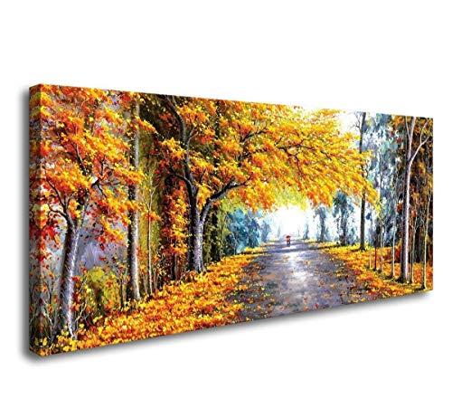 canvas wall art Autumn Love Modern Framed Giclee Canvas Prints Abstract Landscape Forest Oil Paintings Reproduction Pictures Photo Printed on Canvas Wall Art work for Bedroom Home (Beautiful Landscape Oil Painting)