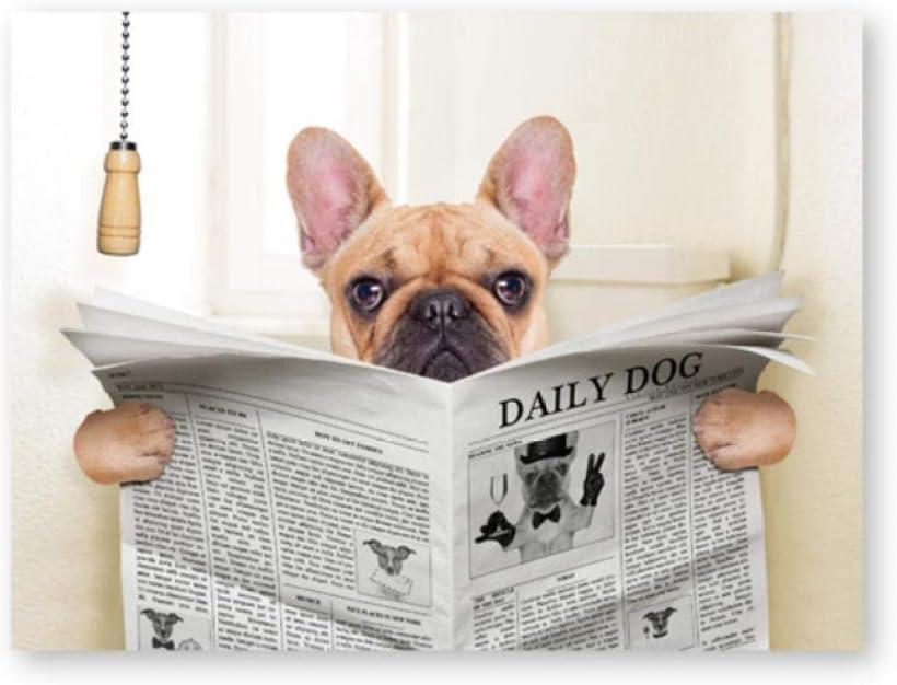 BigMMDream Imprimir Arte Divertido, Perro Bulldog francés Sentado en el Inodoro y Leer la Revista Animal Lienzo Arte Cartel Pintura Cuadro baño decoración de la Pared40x60cmx1 sin Marco